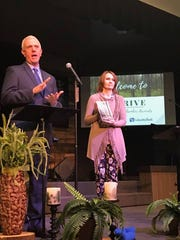 North Santiam School District Superintendent Andy Gardner (left) and School Board Chair Laura Wipper accept the Award of Excellence - Large Business on behalf of the NSSD.