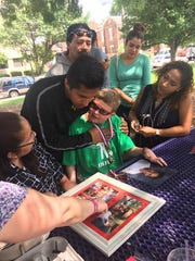 Peyton West, 13, of Goshen, Ohio, meets with 12-year-old Derek Cisneros' family in May 2017 for the first time. West died unexpectedly on Thursday, Aug. 17, 2017.