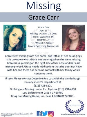 A poster for 15-year-old Grace Carr, who went missing Oct. 22.