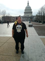"""Las Crucen Dolores """"Doe"""" Gallegos participates Saturday, March 24, 2018 in the Worldwide EndoMarch in Washington, D.C. The march raises awareness about a disease called endometriosis, which causes some women extreme pain."""