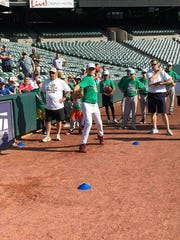 Gavin McIntyre competes at the Scott MLB Pitch, Hit & Run competition at Camden Yards.