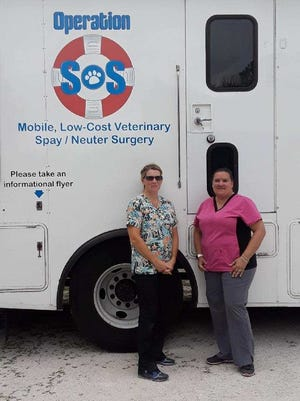 Dr. Julie Kittams and her vet tech, Amber, bring the mobile vet clinic to Caring Fields Felines so the cats never need to leave the property.
