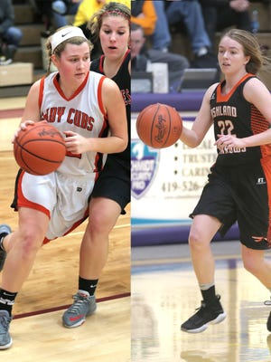 Lucas' Jessie Grover (left) and Ashland's Kylie Radebaugh (right) were named Mansfield News Journal girls basketball players of the year