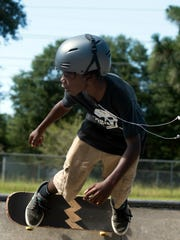 Cedarius Johnson skates at the Steven Morgan Skate