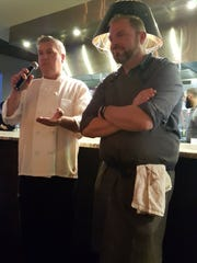 Apparatus Room Executive Chef Thomas Lents, right, and Trattoria Stella Executive Chef Myles Anton address the crowd at the Savor Detroit dinner in Southfield on Monday, April 24, 2017.