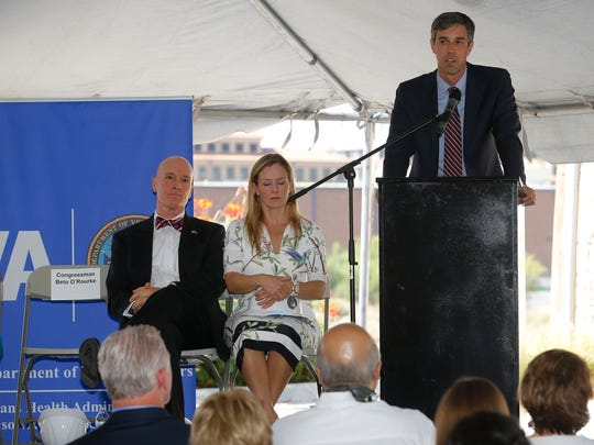 U.S. Rep. Beto O'Rourke, D-El Paso, speaks at the groundbreaking ceremony Wednesday morning for the new South-Central El Paso VA Wellness Center. El Paso VA Health Care System Director Michael Amaral and Medical Center of the Americas Foundation President Emma Schwartz listen to O'Rourke.