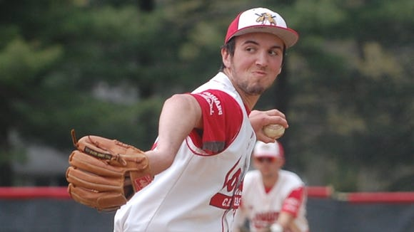 Ross Peterzell delivers a pitch for Cherry Hill East in the championship game against GCIT.