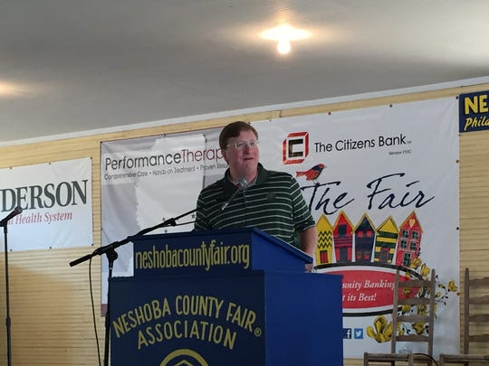 Lt. Gov. Tate Reeves gives a stump speech Wednesday at  the Neshoba County Fair.