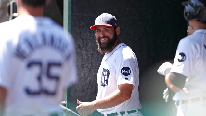 Jul 4, 2017; Detroit, MI, USA; Tigers starting pitcher Michael Fulmer smiles after completing the eighth inning against the Giants at Comerica Park.