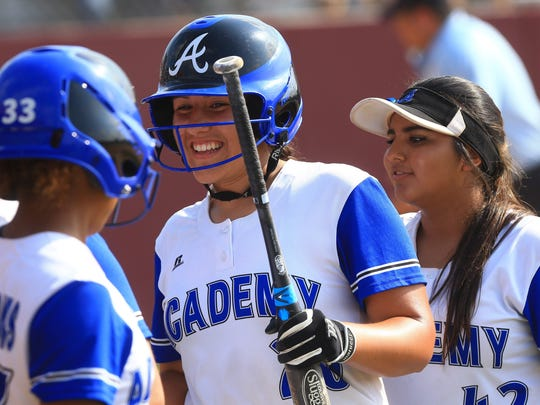 Santa Gertrudis Academy's Jackie De Los Santos  against Jourdanton during a Class 3A regional softball final at Tuloso-Midway HS on Friday, May 26, 2017.