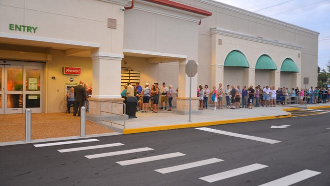 Publix in Cocoa Beach opened at 7:00 a.m. sharp with customers lined up in front of the store waiting for the store to open. The store closed shortly after Hurricane Irma, was torn down, and was rebuilt bigger and better.
