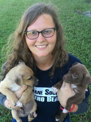 Ashley Fugate, a staffer with the Humane Society of Vero Beach & Indian River County, holds Thomas and Vicki, two puppies rescued from St. Croix after Hurricane Maria devastated the island. Fugate deployed to St. Croix to provide much-needed animal care.