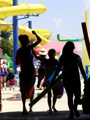 The record-setting heat drew a lot of people to the Bloomfield Family Aquatic Center on Tuesday.
