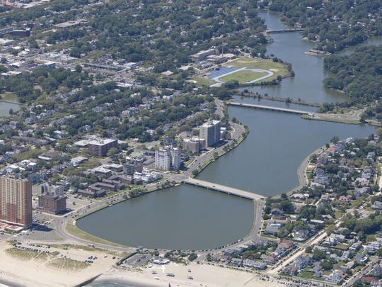 An aerial view of Deal Lake.