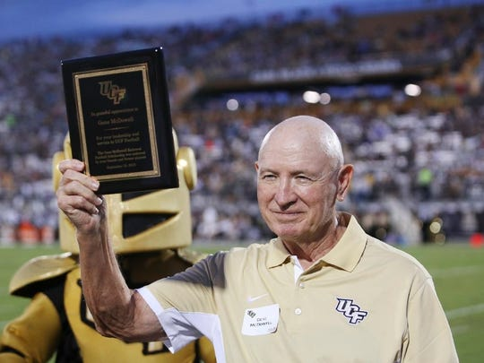 UCF honors former football coach Gene McDowell during halftime of their game against Furman at Bright House Networks Stadium in Orlando on September 19, 2015.