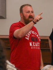 Pastor Joseph Spurgeon, with Operation Save America, yells at Metro Council members at the end of the Public Safety Committee meeting on Wednesday.June 14, 2017