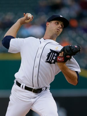 Tigers pitcher Buck Farmer pitches against the Indians during the second inning of the Tigers' 10-0 loss to the Indians in the second game of the doubleheader on Friday, Sept. 1, 2017, at Comerica Park.