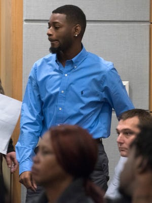 Cornel McGee, 27, who has been charged with aggravated manslaughter of a child by culpable negligence, appears in court on Dec. 13.