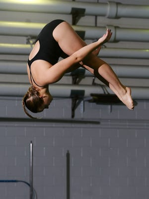 University of South Dakota diver Greysen Hertting practices Feb. 15 at the DakotaDome. She will enter the Summit League swimming and diving championships as a strong favorite.