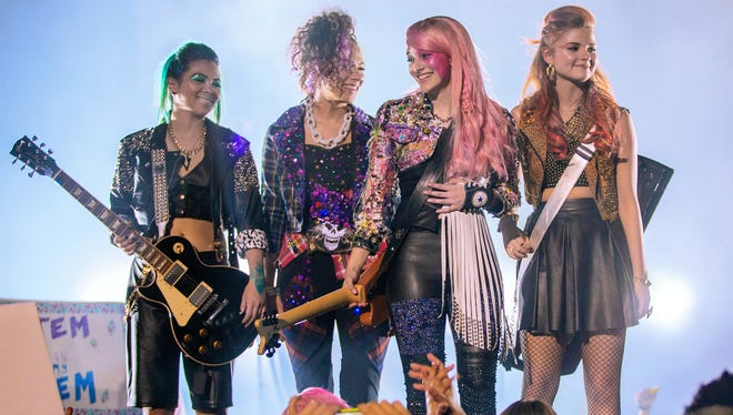 Hayley Kiyoko, Aurora Perrineau, Aubrey Peeples and Stefanie Scott star as the title band of 'Jem and the Holograms.'
