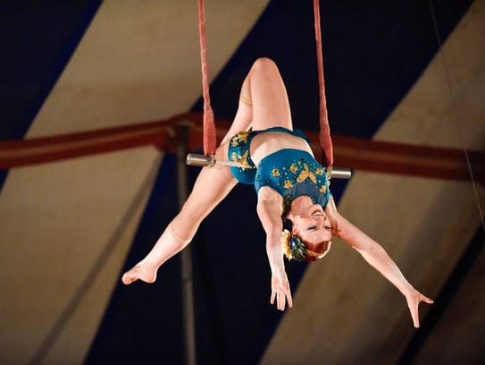 Trapeze artists are part of the show at the Culpepper