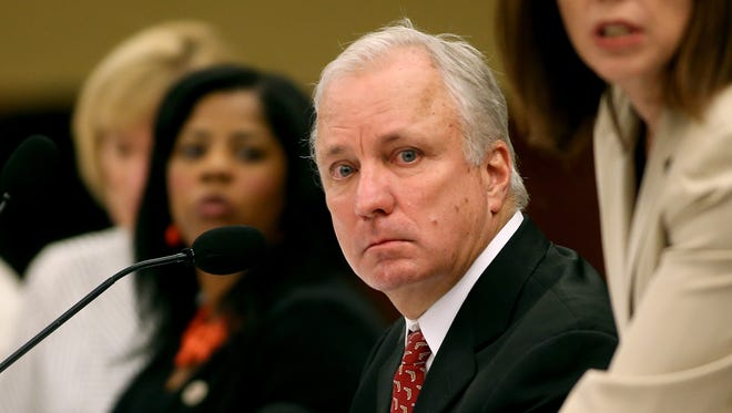 Chairman of the Presidential Search Committee Ed Burr listens during interviews for the vacant Florida State President position in Tallahassee on Monday Sept, 8, 2014.