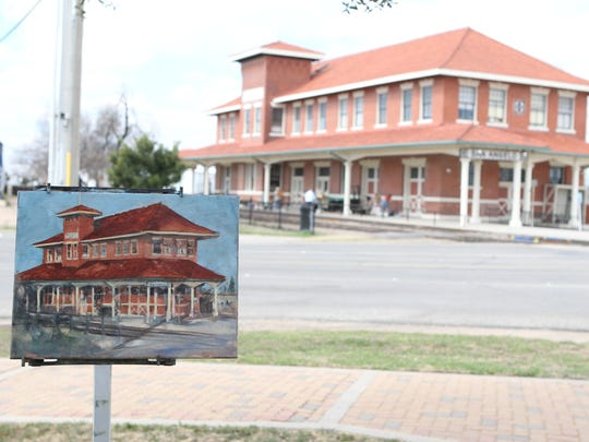 Artist Henry Prikryl of Ovilla, Texas, created a painting of the Railway Museum of San Angelo during EnPleinAirTEXAS in 2015.
