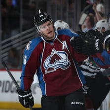 DENVER, CO - APRIL 30:  Paul Stastny #26 of the Colorado Avalanche celebrates his goal against the Minnesota Wild in Game Seven of the First Round of the 2014 NHL Stanley Cup Playoffs at Pepsi Center on April 30, 2014 in Denver, Colorado. The Wild defeated the Avalanche in overtime 5-4 to win the series.  (Photo by Doug Pensinger/Getty Images)