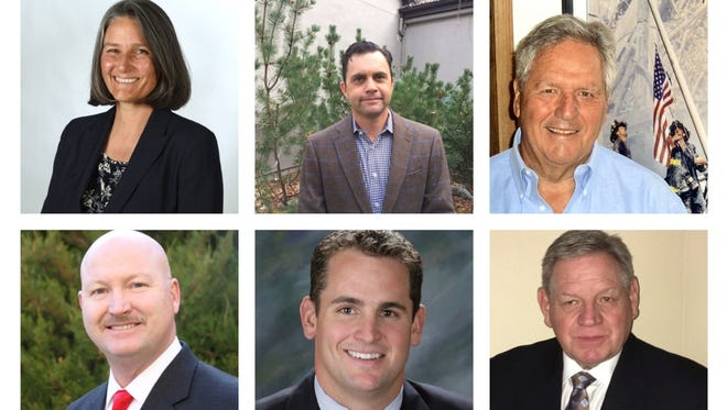 Six finalists for an appointment to the Nevada Legislature, from top left: Julia Ratti, Jesse Haw, Tom Taber, Todd Vinger, Dominic Brunetti, Jim Nadeau.