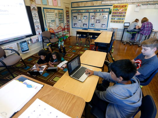 York Elementary school students work on an assignment on Thursday, May 6, 2016.