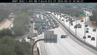 Northbound Loop 101 was closed near Thunderbird Road earlier Saturday, Sept. 12, 2015, due to a collision.