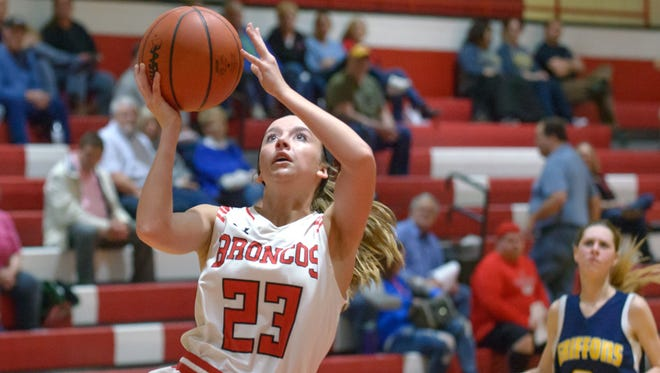 Bellevue's Bailey Whitcomb (23) goes for a layup during game action Tuesday night.