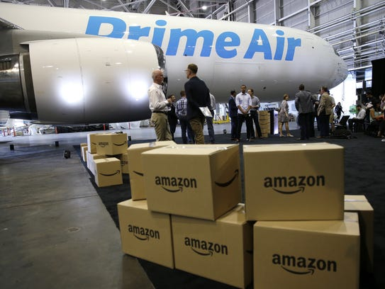 In this Aug. 4, 2016, file photo, Amazon.com boxes
