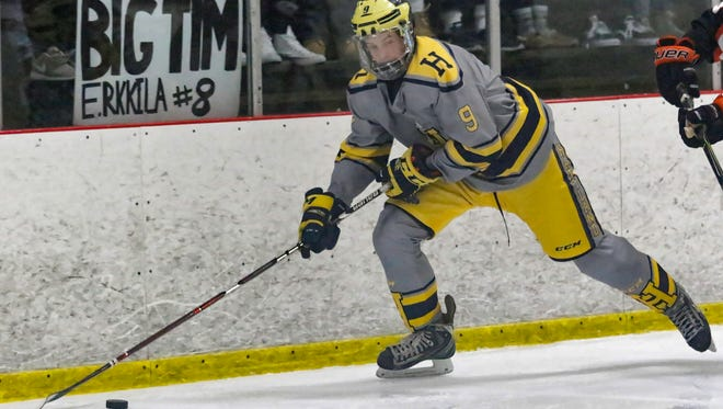 Joey Larson scored twice for Hartland in a 3-2 victory at Trenton.