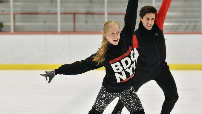Canadian Olympic ice dancers Kaitlyn Weaver and Andrew Poje practicing their footwork at Hackensack's Ice House on Friday, Jan. 19.