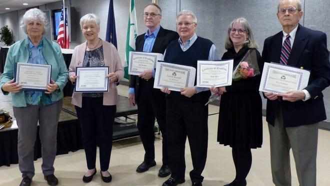 The 2017 Award Winners (left to right) are Doris Ramsey, Mary Trevisan, Jim Buckner, Art Mikkola, Bette Rose and Ron Holland