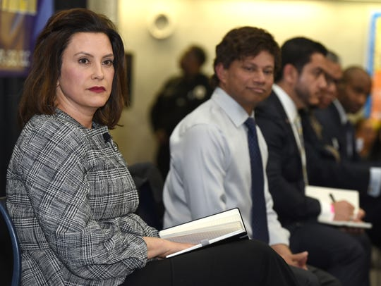 Democratic gubernatorial candidates (from left) Gretchen Whitmer, Shri Thanedar, Abdul El-Sayed and Bill Cobb on Monday April 16, 2018 at Wayne Community College.