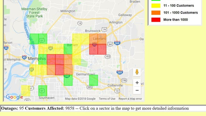 An image of the Memphis Light, Gas and Water Division outage map, shortly after 10 p.m. on Thursday, July 5. At the time, 9,858 customers were without power.