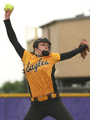 Colonel Crawford's Sydney Studer pitches against Edison during the district tournament game at Lexington High School on Friday afternoon.