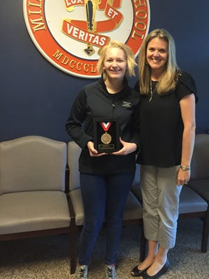Breeann Stowe, a senior at Millville Senior High School, who was awarded a Horatio Alger National Scholarship, is pictured with her counselor, Michelle Giercyk.