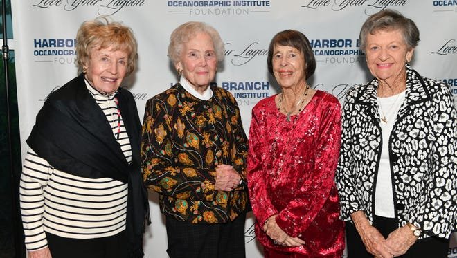 """Winks Kremer, left, Alma Lee Loy, Marilyn Link, and Eleanor Sexton at the 2017 Harbor Branch Oceanographic Institute Foundation's """"Love Your Lagoon"""" gala."""