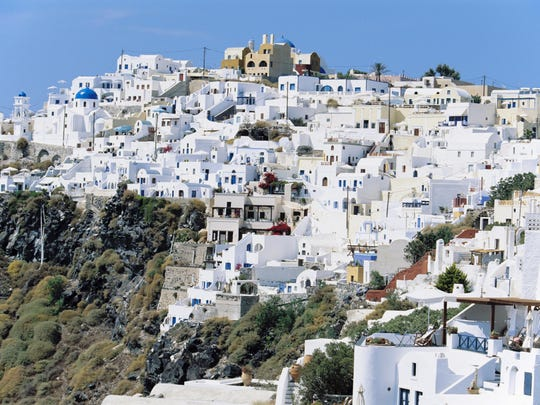 Hill Town, in Greece, on a sunny day