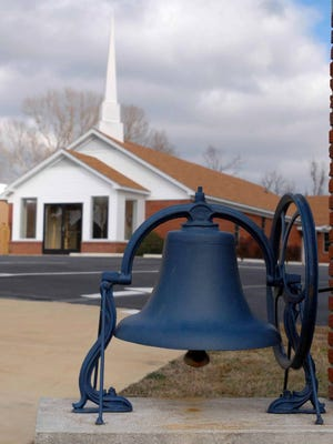 A bell to welcome churchgoers sits in Blue Springs, Miss. Small towns such as Blue Springs will have an option to reduce their number of alderman under a new law.
