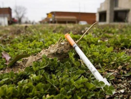 A discarded used syringe was seen in March 2015 in