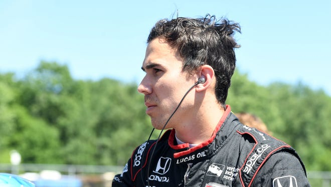 Verizon Indy Car driver Robert Wickens (6) during qualifying for the Kohler Grand Prix at Road America.