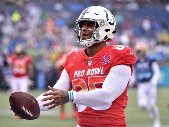 Jan 27, 2019; Orlando, FL, USA; AFC tight end Eric Ebron of the Indianapolis Colts (85) scores a touchdown against the NFC in the NFL Pro Bowl football game at Camping World Stadium. Mandatory Credit: Steve Mitchell-USA TODAY Sports