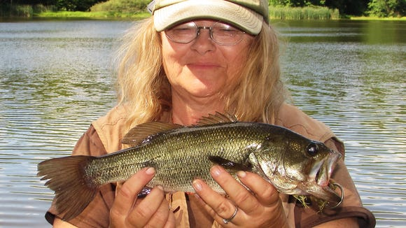 Carol hooked this largemouth bass Saturday at a pond