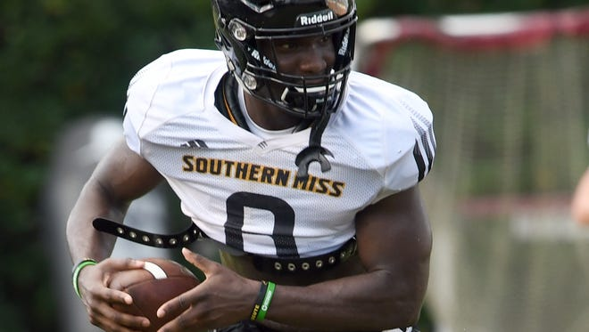 Southern Miss running back Tez Parks catches a pass during the teams second week of fall camp on Tuesday, August 7, 2018.
