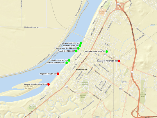 Screenshot of the live HWU combined sewer overflow map. The green dots represent CSO discharge points that are not overflowing. Red dots represent CSO discharge points that are overflowing, causing untreated sewage to enter public waterways. This screenshot was taken on Feb. 21, 2018, when a heavy rain event was occuring.