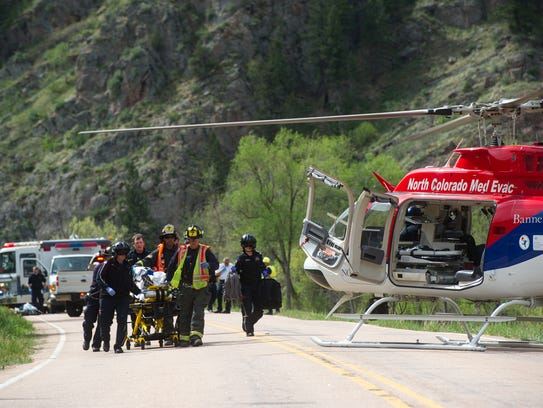 Medical helicopters provide rapid transit to trauma centers. A runner in the Colorado Marathon, who collapsed in the Poudre Canyon was transported via chopper on May 7, 2017.
